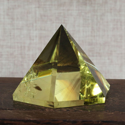 【水晶宮】天然黃水晶六棱金字塔家居擺件 能量石晶體通透聚能招財 旺風水