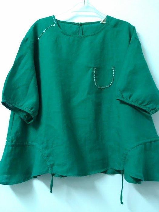 五分袖上衣/夏季亞麻刺繡下擺抽繩造型文雅上衣(老銀屋)