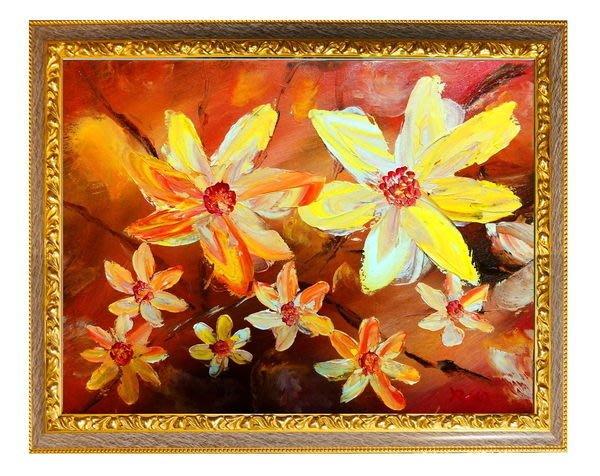 藝術之都~手繪創作油畫~花團錦簇~已完成作品實品拍攝 含內框可直接懸掛 ROSE
