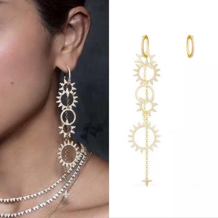 💎834、斷貨-高檔時尚環形太陽設計耳環(兩種戴法)💎 Hermes agete [EB015]