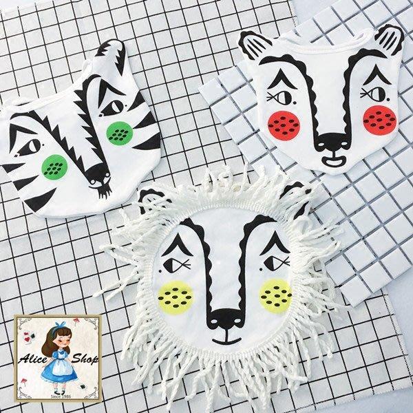 Alice Shop (現貨) IG爆款 Roxy marj口水巾 熊老虎獅子寶寶純棉圍兜嬰兒口水巾AL038