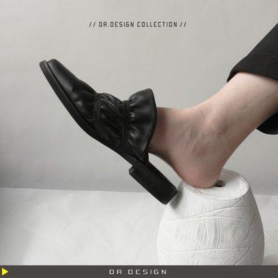6/27新品►DR.DESIGN│DR31489-小眾暗黑 設計款 優質真牛皮 不撞鞋 黑色 懶人半拖 包頭涼鞋