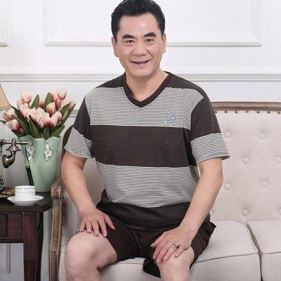 每週新品 中年男士睡衣夏季短袖短褲純棉薄款中老年加大碼爸爸家居服套裝