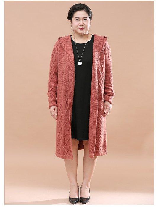 A1695 咖啡色中長款連帽針織衫均碼60-100公斤秋冬婆婆裝媽媽裝風衣女裝外套大尺碼大碼超大尺碼
