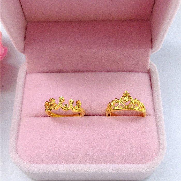 送禮佳品 新款鍍金女開口戒指 久不掉色韓簡約歐幣小皇冠戒指 仿金沙金首飾