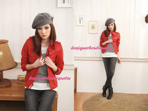 Angelababy 愛用D-MOP款龐克  紅色三角扣款 小羊皮植鞣皮衣 S 超推薦必備款 紅色現貨特價出清