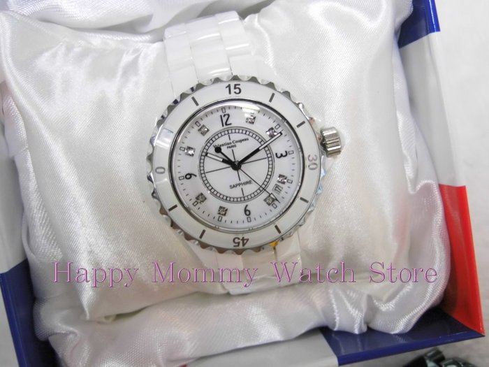 【幸福媽咪】網路購物、門市服務 Valentino Coupeau 范倫鐵諾 日期窗白色精密陶瓷錶 38mm