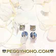 【Peggyhoho】 全新18K白金54份方形彩鑽耳環一對|Olive Green | 罕有橄欖綠彩鑽