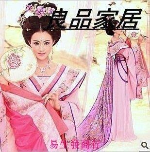 【易生發商行】古裝貴妃披風式拖尾仙女影樓寫真服裝唐朝粉色唐裝漢服楊貴妃秘F6564