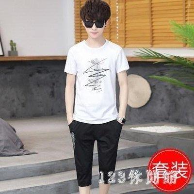 哆啦本鋪 兩件套韓版帥氣青少年短袖T恤2019新款夏季休閒運動套裝男士潮流13694D655