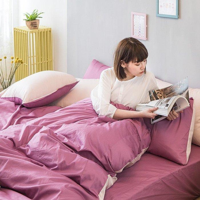 床包 / 雙人加大【撞色系列-多色可選】含兩件枕套  100%精梳棉  戀家小舖台灣製AAA301