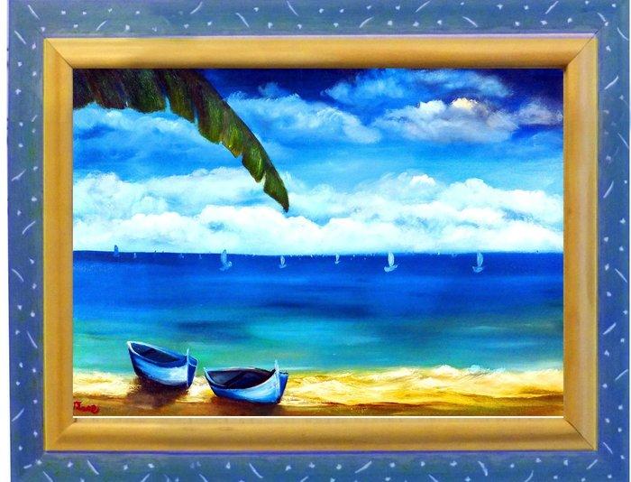 Art city 創作手繪創作油畫:~陽光海岸~已完成作品實品拍攝 含內框 台灣畫家