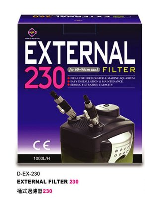 小郭水族-UP雅柏-免運費【EXTERNAL 桶式過濾器 230型 (1000L/H)】D-EX-230 圓桶 過濾桶