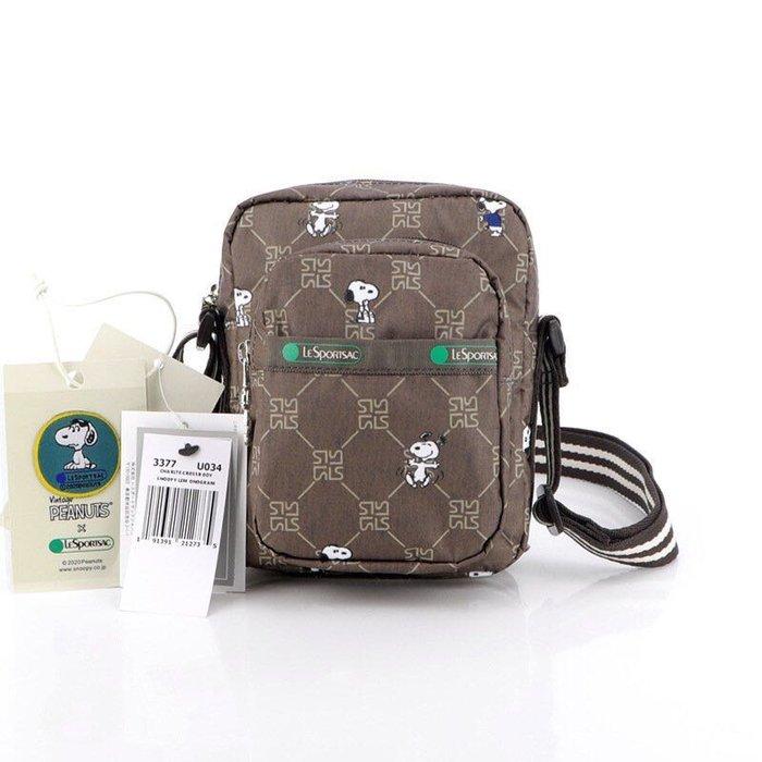 LeSportsac x Snoopy 咖啡史努比 3377 斜背輕量包 斜背 側背包 多夾層 大容量 降落傘防水 出遊 旅行 限量