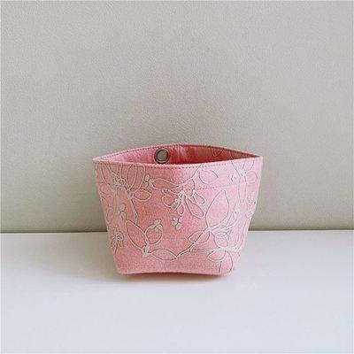 日本 one's terrace 粉紅色不織布 立體印花 書桌 小SIZE 收納袋 ($100 包順豐)