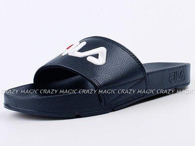 FILA 拖鞋 運動拖鞋 深藍色 大LOGO 電繡 男女都有 韓國 # 4S313T331