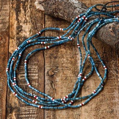 日本匠人手造 NORTH WORKS 層搭神器 江戶謎漾藍染貝殼細版項鍊