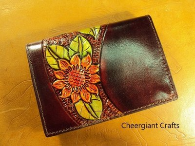 巧將皮雕太陽花名片夾手工皮件可訂圖案及顏色Cheergiant sunflower visiting card arts