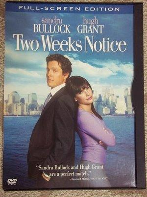 美國帶回 正版 只看了ㄧ次 DVD (貼身情人) Two Weeks Notice 全螢幕