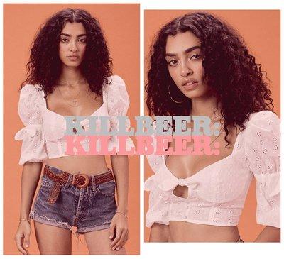KillBeer:波希米亞嬉皮風之 歐美復古For Love and Lemons簍空綁帶刺繡鉤花短版上衣042504