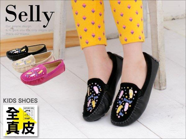 童鞋‧麂皮X牛皮彩繪貼鑽休閒鞋-Selly-沙粒-(KD032)3色