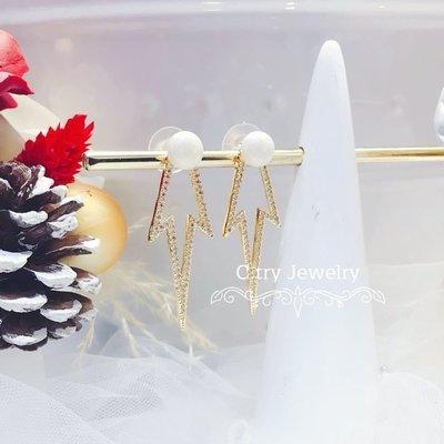 💎1204、歐美模特矚目魅力金鑲耳環💎正韓飾品 耳環 珠寶 925純銀針 EE025