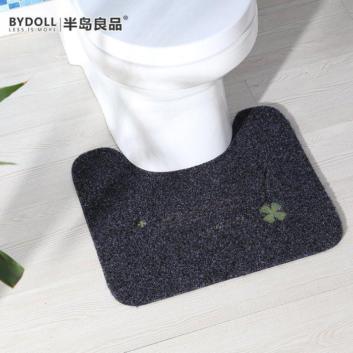 地墊 地毯 半島良品 吸水防滑U型衛生間坐便器繡花馬桶地墊內凹墊子腳墊子