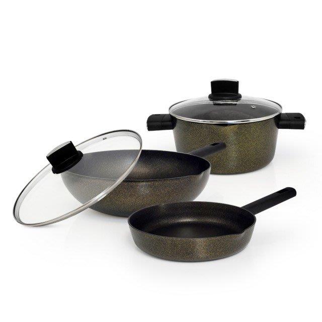 3鍋組 日本半藏 黃金原礦 航太 鑄造鍋 炒鍋(含蓋)*1、平底鍋*1、湯鍋(含蓋)*1