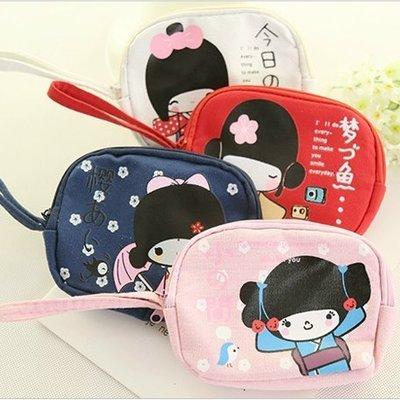 可愛女孩雙拉鍊多功能手拿包 零錢包 鑰匙包-艾發現
