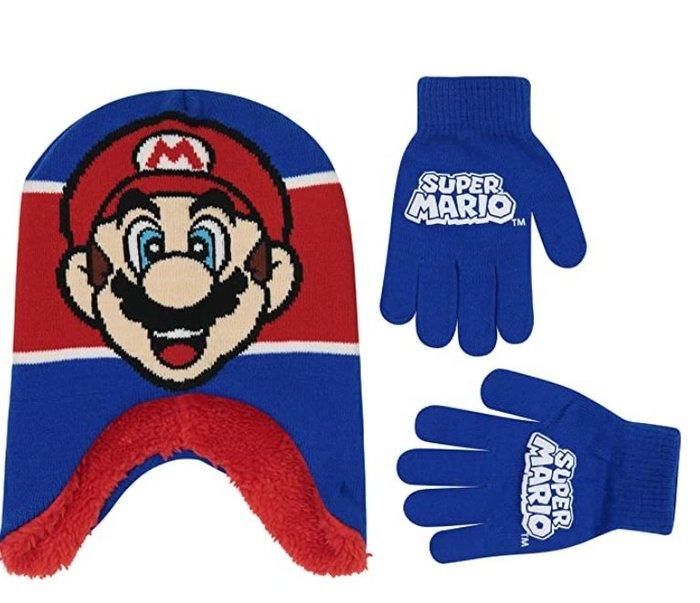 預購 美國帶回 Mario 超級瑪莉歐 可愛童款 毛帽+手套組合 冬季必備