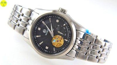 (六四三精品)握刻錶(真品)大型錶徑3.8公分.面盤左下及錶背透空可見機芯.自動上鍊機芯.黑