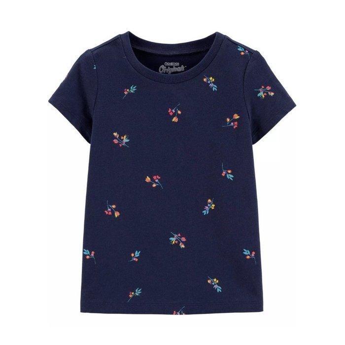 【Carter's】CS女童短袖滿版小花 深藍 F03190830-11