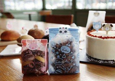 Amy烘焙網:48入 款霧面立體熊貓RURU餅乾袋 平口包裝袋一包48入
