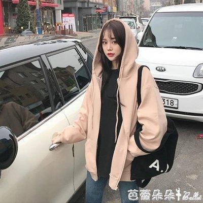 胖MM大碼衛衣女秋冬季2019新款韓版寬鬆連帽拉鏈加絨加厚開衫外套