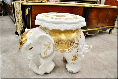 民族風 白色描金立體波麗大象椅子 鑲藍...