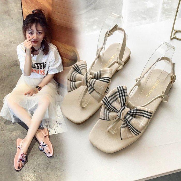 涼鞋 2019夏季新款涼鞋女仙女風蝴蝶結夾趾平底韓版學生百搭沙灘羅馬鞋