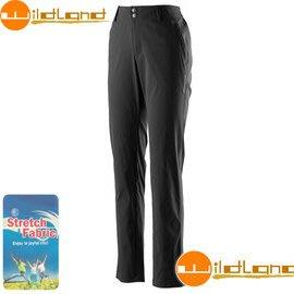 丹大戶外用品 荒野【Wildland】女款彈性抗UV休閒直筒長褲/抗紫外線/透氣輕薄 0A21339-54 黑