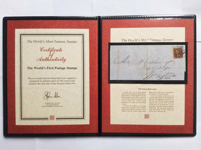10月特價!!(附證書) 大英帝國(GB) 1841年 紅便士信函.威斯敏斯特收藏證書與文件夾. Westminster