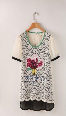 特價172=EZZ=B742 韓國首爾 時尚精品 東大門同步 亮片花朵連衣裙 刺繡花朵連衣裙  F碼/均碼