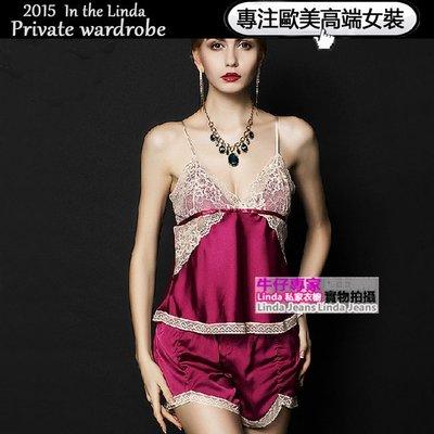 Linda私家衣櫥*歐美吊帶性感睡衣女蕾絲誘惑 透明鏤空睡衣套裝睡裙夏季短袖薄款