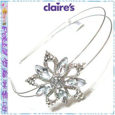 ☆POLLY媽☆歐美claires鑲嵌水鑽雪花造型鏤空花朵銀色鋼絲雙圈髮箍EUR€6.95