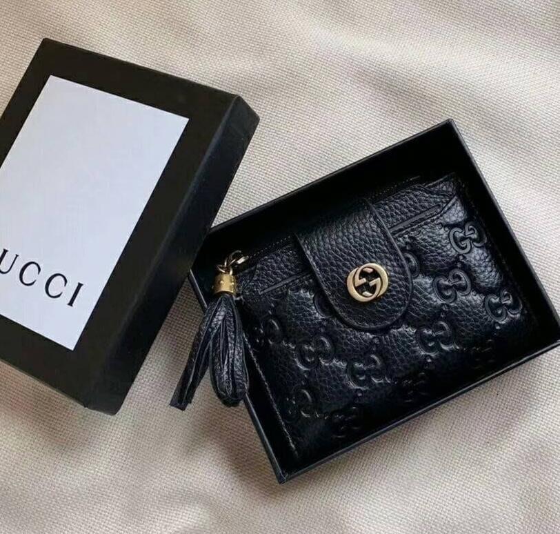 全新Gucci 黑色全皮革壓紋證件照片多功能夾