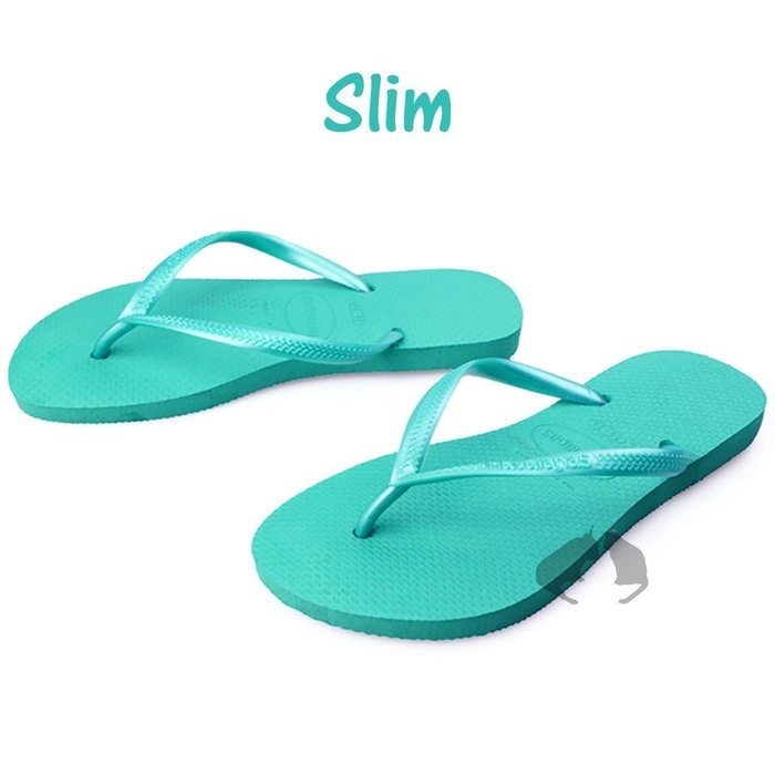 Havaianas slim 窈窕系列 剩巴西尺寸35/36 湖水綠 珠光 細鞋帶-阿法.伊恩納斯 巴西拖鞋 夾腳拖