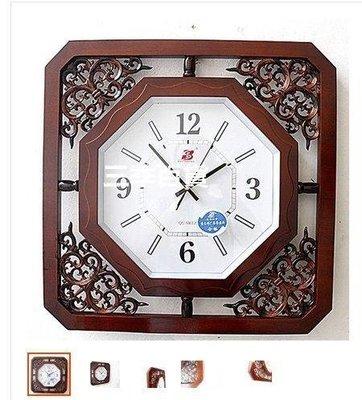 三季 仿古大號方形中式木質客廳掛鐘 石英鐘表 實木餐廳雕花掛表❖545
