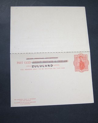 【雲品】祖魯蘭Zululand 1893 overprint Postcard double (Higgins & Gage #4 ) - SCARCE