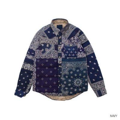 【日貨代購CITY】VISVIM KERCHIEF DOWN JKT 拼接 鋪棉 夾克 深藍 腰果花 民族風 現貨