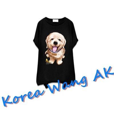 Korea Wang AK ~(預購)台灣原創獨家設計 美國100%純棉 限定版 小黃金獵犬寬袖T 三款【P024】