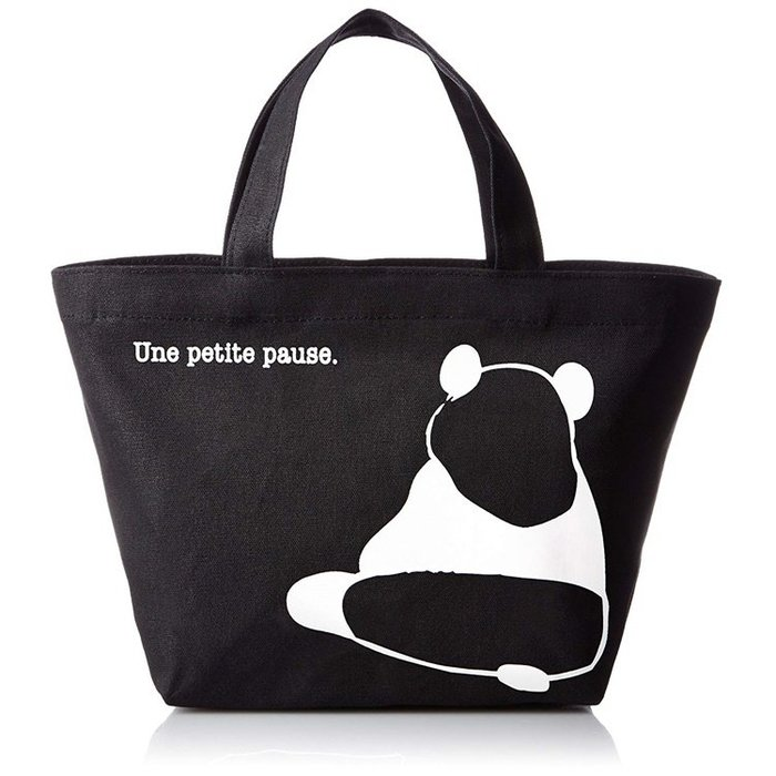 【露西小舖】日本Panda帆布手提袋(黑色底)帆布貓熊手提包帆布購物袋環保購物袋(日本平行輸入)