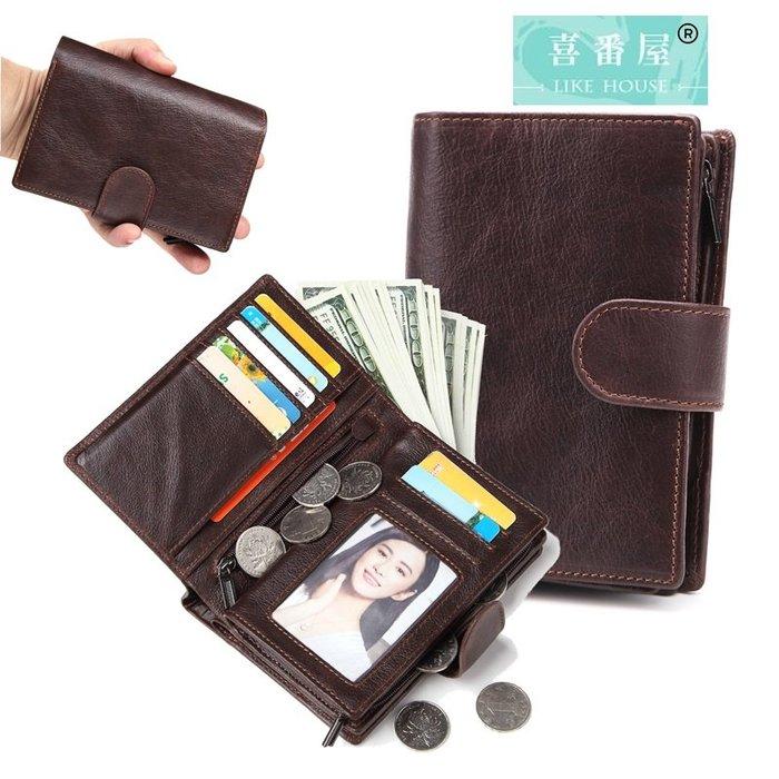【喜番屋】真皮頭層牛皮男士皮夾皮包錢夾錢包短夾中夾男夾【LH83】
