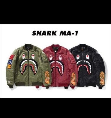 BAPE SHARK 刺繡鯊魚頭 MA1 外套 黑色 L號 9成新